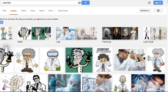 "My google image view when typing ""scientists"" into the search bar"